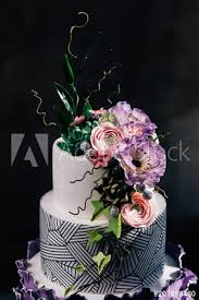 Purple Happy Birthday Cake With Beautiful Flowers Dozen Of Violet