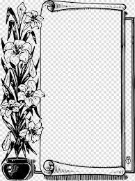 Black Scroll Design Clip Art Flower Scroll Black Border Transparent Background Png