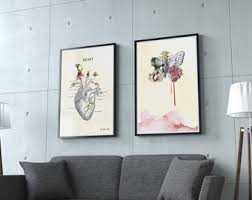 medical office decor. Set Of 2 Prints Anatomy Print Gift Medical Graduation For Nurses Science Art Office Decor L