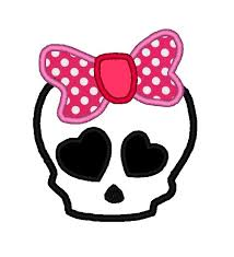 Cute Girly Skull with Big Bow Applique. INSTANT DOWNLOAD Machine Embroidery  Design Digitized File 4x4 5x7 6x10