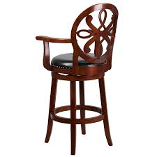 wood barstool with arms carved back and black leather swivel thumbnail thumbnail thumbnail thumbnail