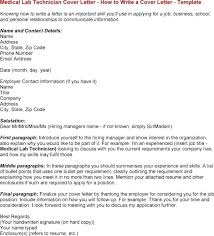 Cover Letter Medical Laboratory Technologist Chemical Laboratory