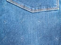 Blue Jeans And Stitches Texture Denim Background With Seam Stock