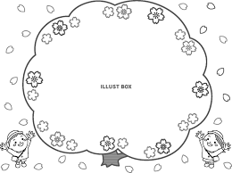 無料イラスト 子供が見上げる桜のフレームモノクロ3