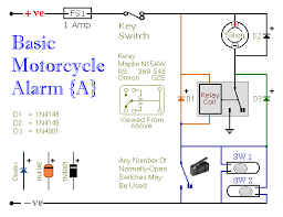 two simple relay based motorbike alarms alarm no 5 schematic diagram
