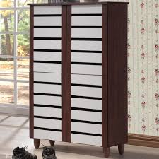 baxton studio gisela white and um brown wood wide tall storage cabinet
