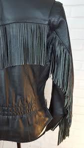 details about harley davidson womens black leather jacket sz s fringe asymmetrical front zip