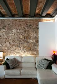 White Exposed Brick Wall Shabby Brick Wall Theme And Black Striped Cushions On L White