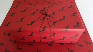 flying bats on red gothic wrapping paper 1 roll of handmade gift wrap