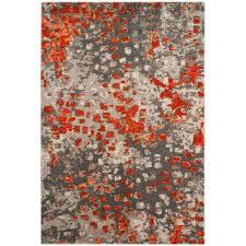 safavieh monaco gray orange 8 ft x 11 ft area rug mnc225h 8 the home depot