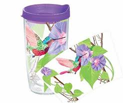 8 tervis hummingbird wrap tumbler with purple lid 16 ounce gift tumbler