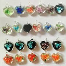 whole new hot multicolor heart murano lampwork glass pendants jewelry accessory fit diy craft jewelry turquoise necklace long necklaces from