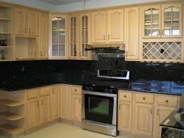 maple kitchen cabinets with black appliances. Image Of: Maple Kitchen Cabinets With Granite Countertops Black Appliances