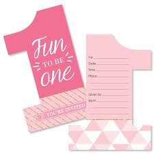 1st Birthday Girl Fun To Be One Shaped Fill In Invitations First Birthday Party Invitations Set Of 12
