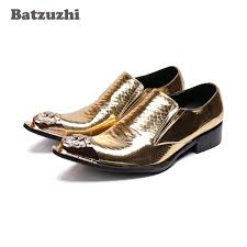 saan bibili batzuzhi luxury mens shoes pointed iron toe gold leather dress shoes men zapatos hombre formal party and wedding shoes men us12 presyo ng