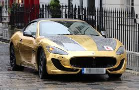 lamborghini pink and gold. a £90,000 gold wrapped maserati gran turismo is spotted in london with learner plates last lamborghini pink and