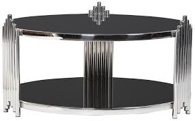 deco low black glass top round coffee table
