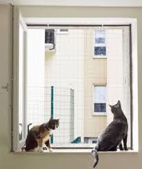 Fenstersicherung Für Katzen Mit Einem Fenster Netzrahmen