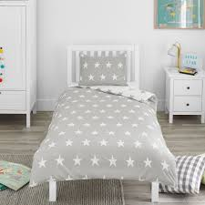 bloomsbury mill grey white stars duvet cover set cotbed junior toddler bedding 1 of 8free