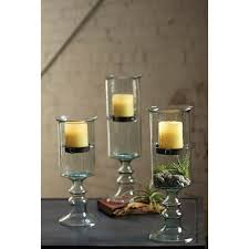kalalou clear mini glass candle cylinder with insert on a glass pedestal large only