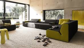 stylish black and lime green l shape sofa couch in gorgeous living room concept with sliding black beige living room
