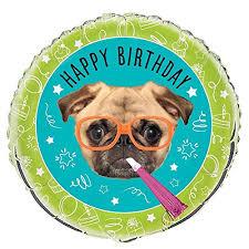 pack of 2 unique industries foil pug puppy birthday balloon bundled by maven gifts