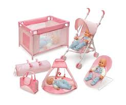 dolls furniture set. amazoncom badger basket five item doll furniture and accessory set pink dolls