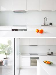 if the all white look is something you really want to stick with leave the backsplash white you ll have a completely unified kitchen that s bright clean