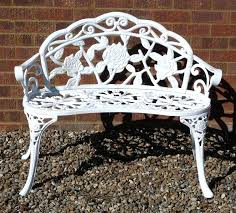 white iron garden furniture. White Metal Benches Small Garden Bench Outdoor Furniture Round Patio Dining Table . Iron W