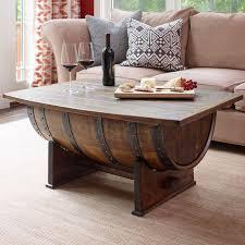 wine barrel coffee table in stock