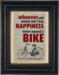 whoever said you cant happiness never owned a bike on repurposed 1870 s vine dictionary page