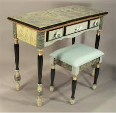 hand painted furnitureFlipTop Vanity wStashIt Stool Blue Shells from Suzanne Fitch