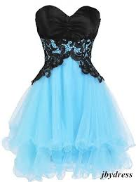 Sweetheart Neck Short Blue Prom Dress With Black Lace Flower