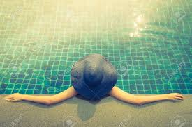 Pool Light Leak Woman In Swimming Pool Vintage Filter And Light Leak Effect