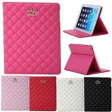 apple ipad air mini 1 2 3 4 pro 9 7 crown diamond leather case casing