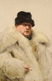 anders zorn self portrait with fur 1915