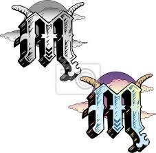 Fototapeta Tetování Ve Stylu Písmeno M S Příslušnými Symboly Začleněna