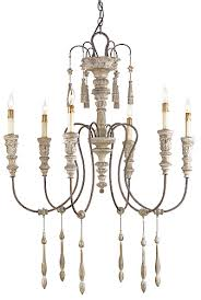 swedish white wood chandelier small