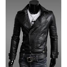 moto leather jacket. mens slim fit black faux leather moto jacket p