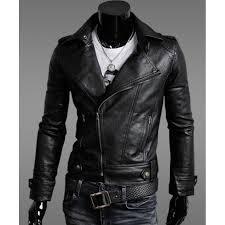 mens faux leather moto jacket biker slim fit men