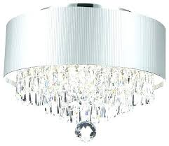 crystal drum chandelier contemporary modern 3 light chrome silver acrylic shade flush white 23 pendant