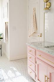 Elsie's Guest Bathroom Tour (Before + After)  A Beautiful Mess pink  bathroom
