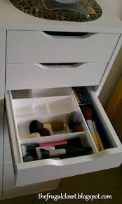 Makeup Organization from The Frugal Closet