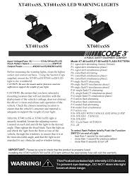 Code 3 Warning Lights Code 3 Xt401 And Xt601 Series User Manual 2 Pages Also
