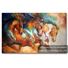 free high quality modern abstract three running horses oil painting on canvas abstract horse oil