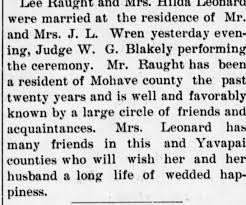 Lee Raught and Hilda Leonard Marriage - Newspapers.com
