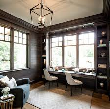 Image Ideas Home Office Lighting And Builtin Desk Home Office Lighting And Builtin Desk homeoffice lighting builtindesk Shiplapdarkstainedshiplap Hendel Homes Pinterest Home Office Lighting And Builtin Desk Home Office Lighting And