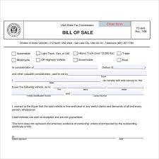 Bill Of Sale Of Car 14 Vehicle Bill Of Sale Utah Profesional Resume