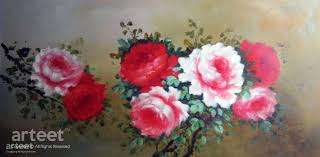 red rose oil painting and flower paintings for