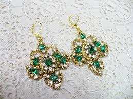 ooak vintage green and clear rhinestone large chandelier style earrings gold tone metal substantial